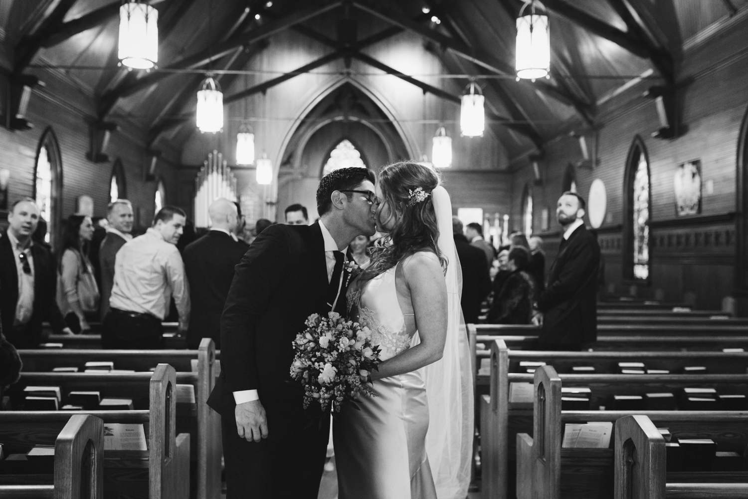 Couple kissing in church