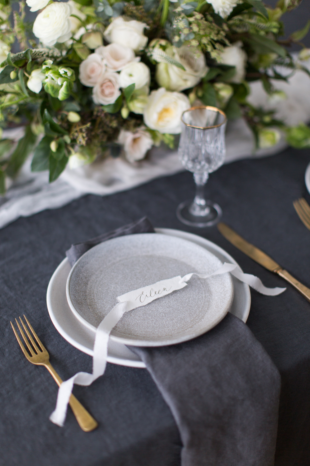 Speck and stone plates and place card with silk ribbon by Paula Lee Calligraphy