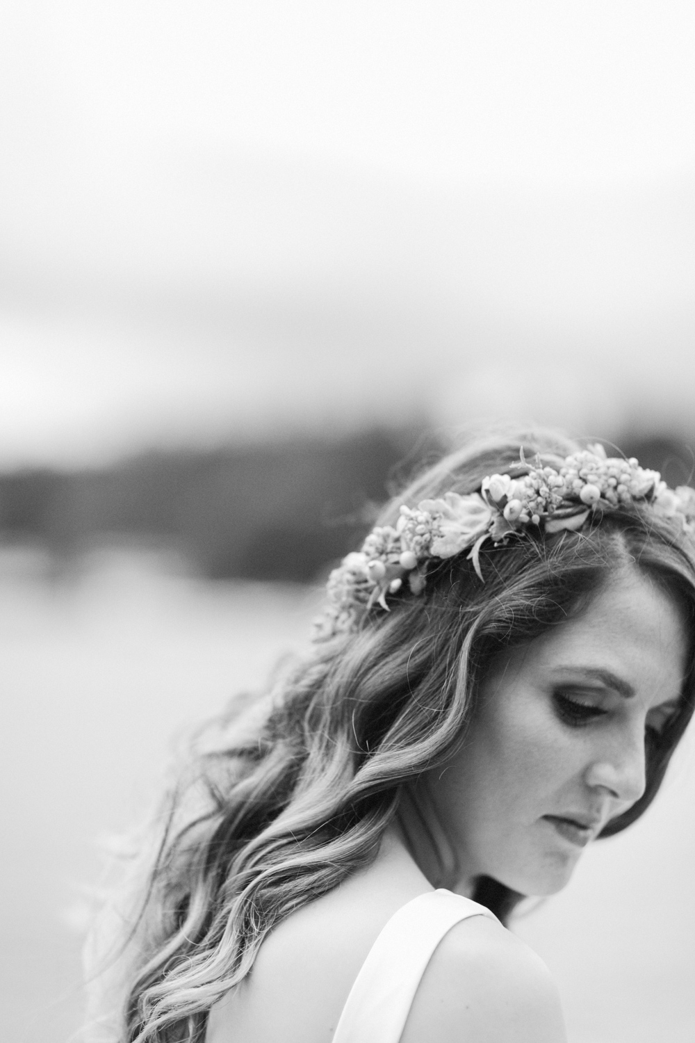 Bridal portrait, introspective bride