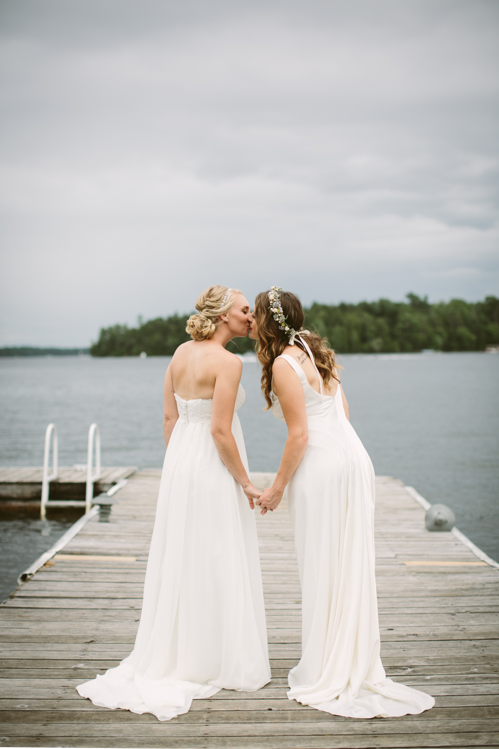 Two brides  getting married in Muskoka