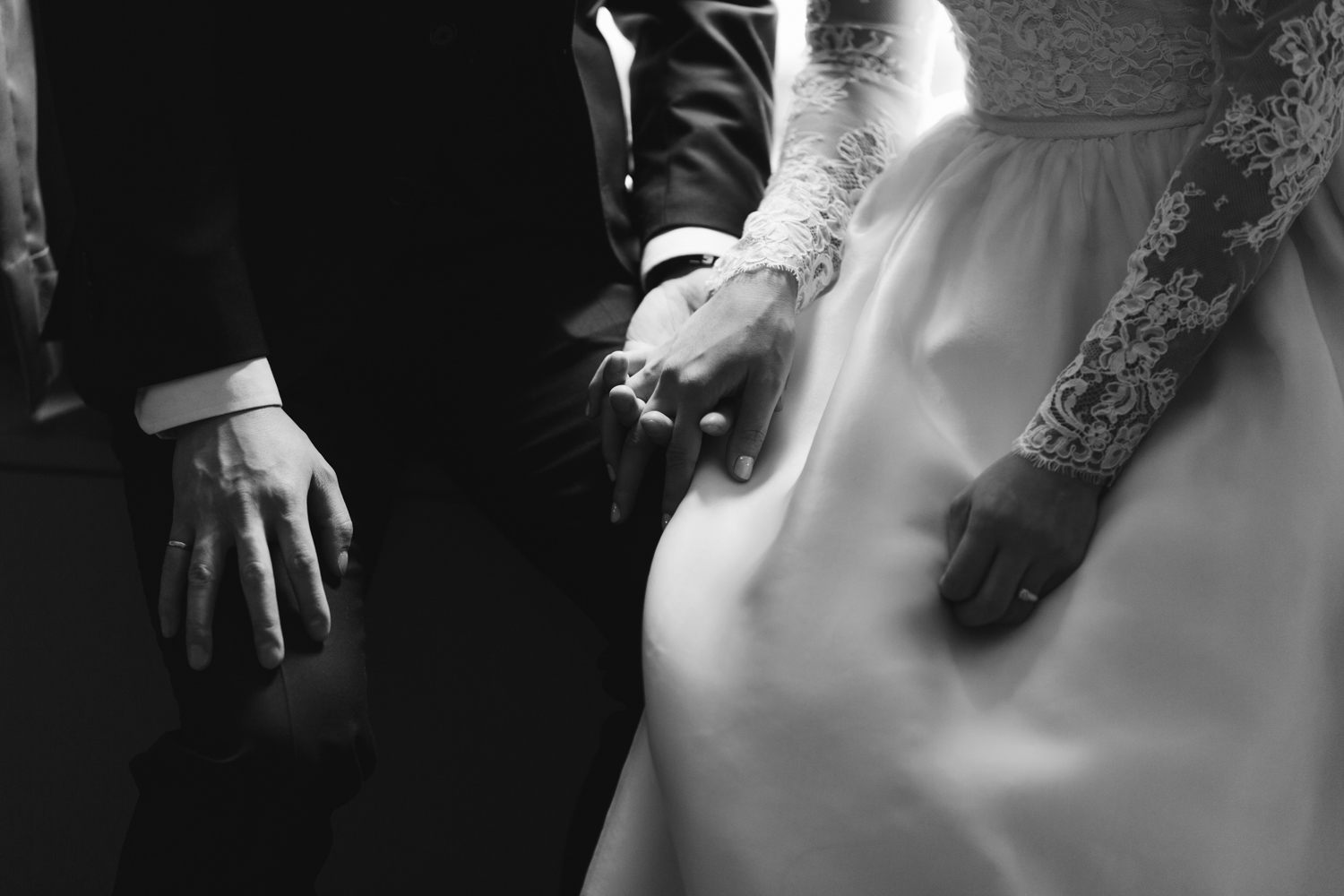 Bride and groom holding jands