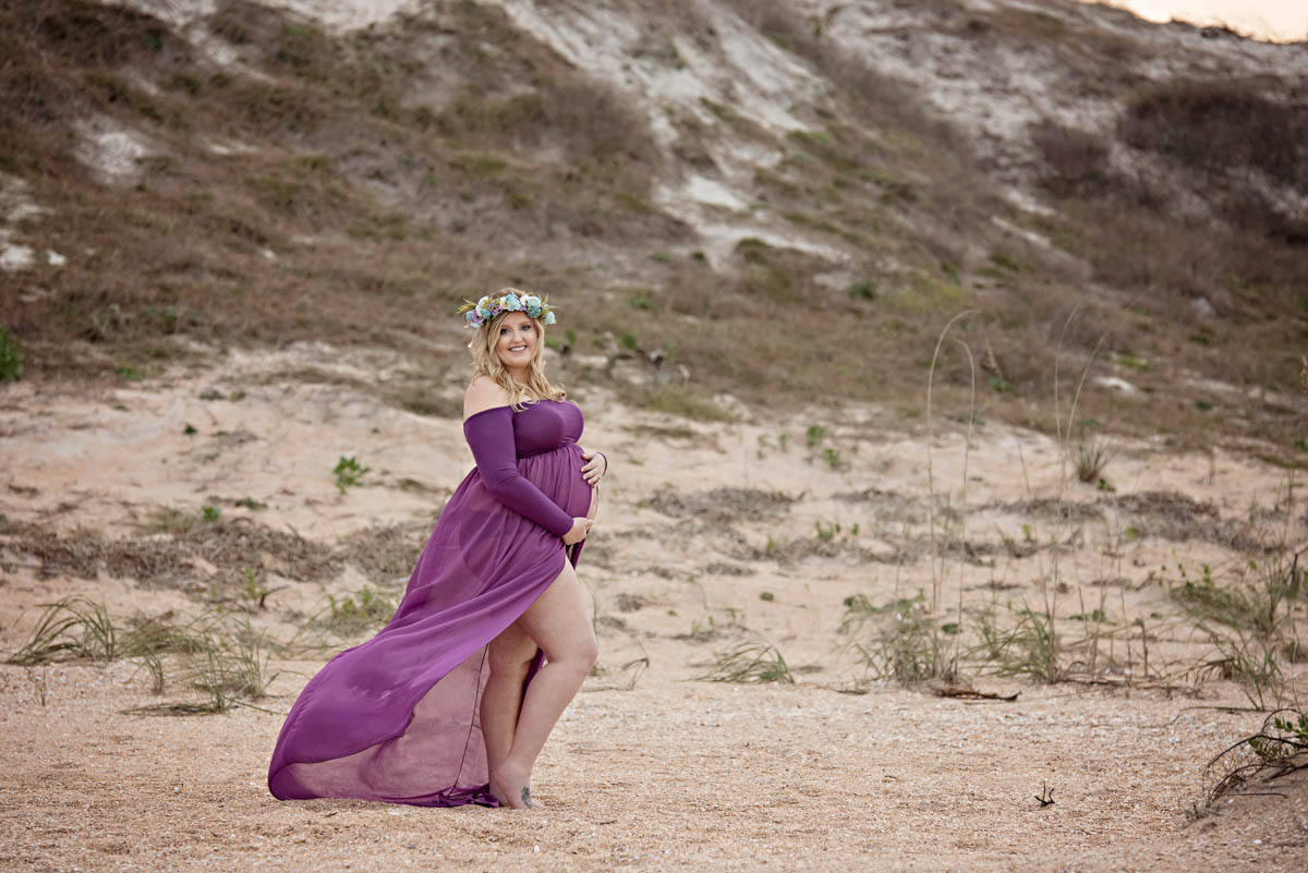 Titling/Alt Text/Description: 1. beach maternity photos 2. purple dress 3. pregnancy photos 4. portrait 5. jacksonville photography 5. newborn photography jacksonville