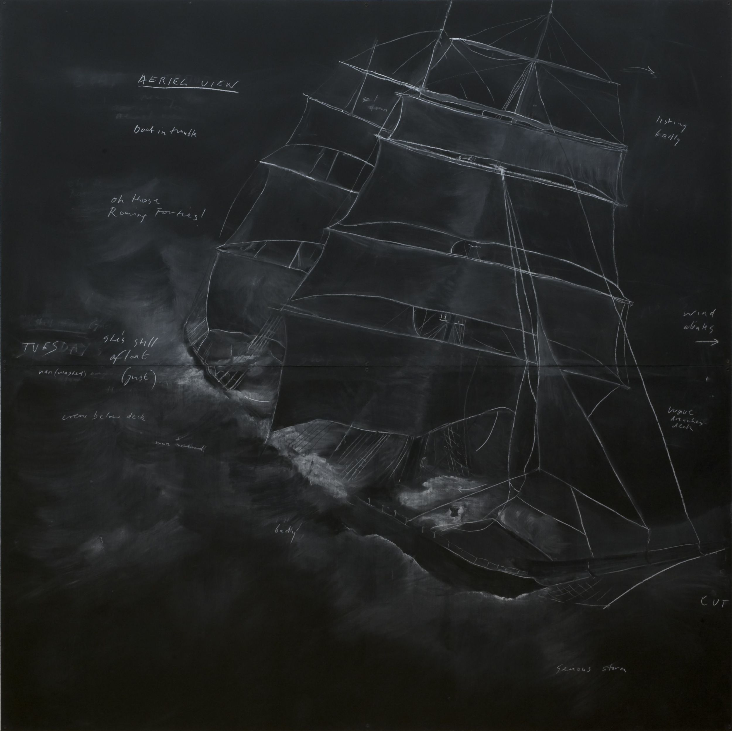 Tacita Dean.  Roaring Forties: Seven Boards in Seven Days,  1997. Chalk on blackboard. Tate Collection.