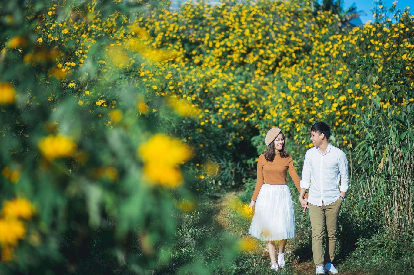 Rất nhiều cặp đôi mến sắc vàng của hoa Dã Quỳ Đà Lạt, tận dụng màu vàng đầy sắc sống này để làm nền cho bộ ảnh cưới của mình