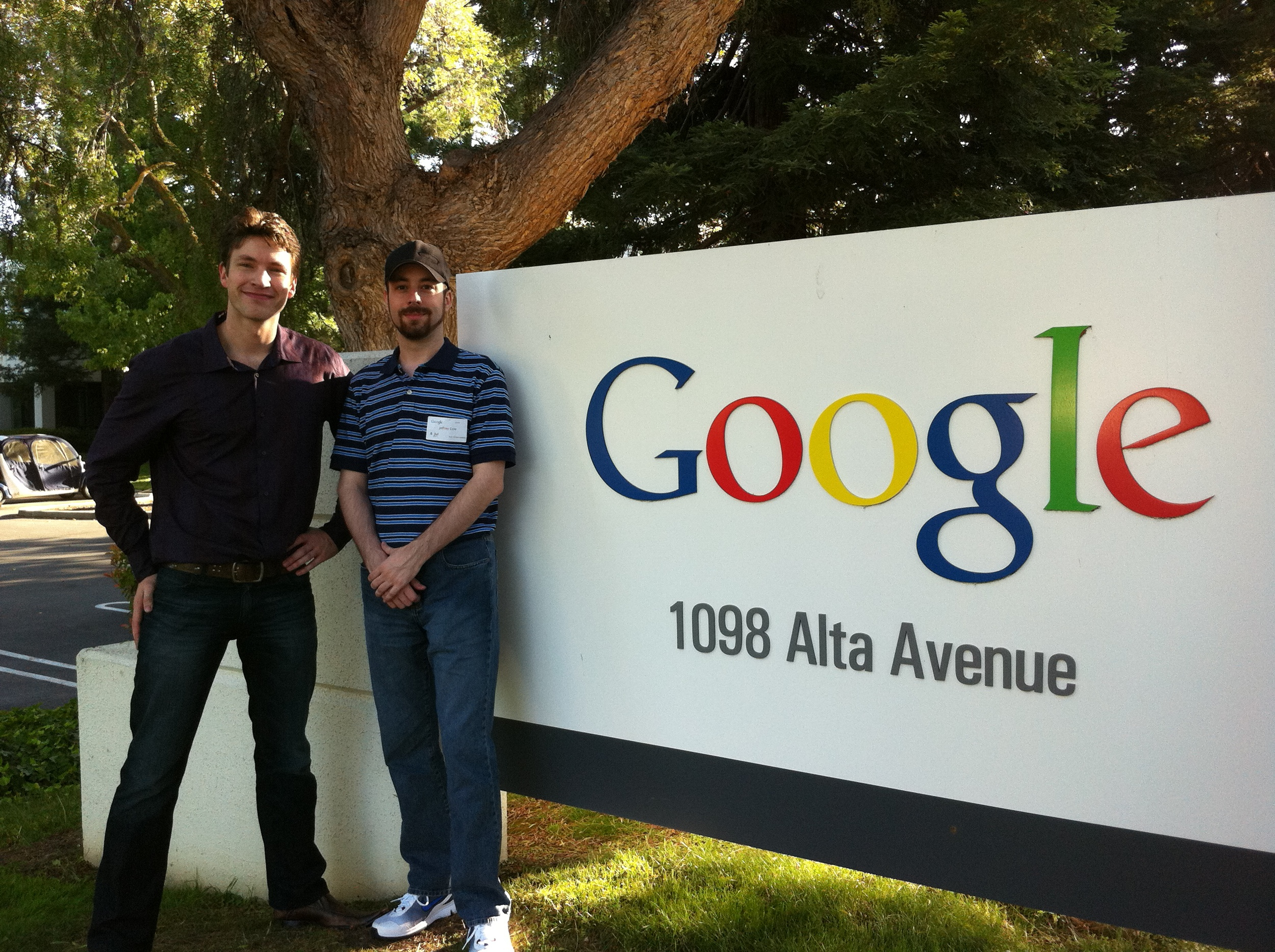 Myself and Jeff on a tour of Google while we were in the neighbourhood. They had no involvement in the acquisition though.