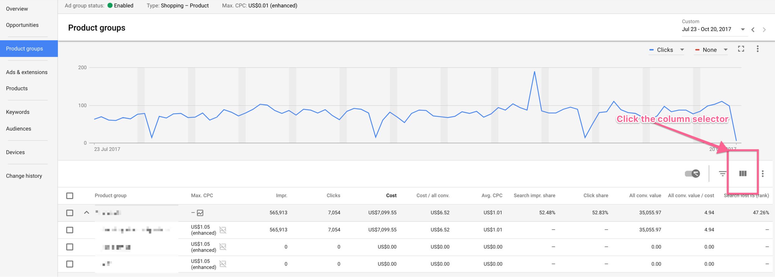 click the column selector in google shopping.png