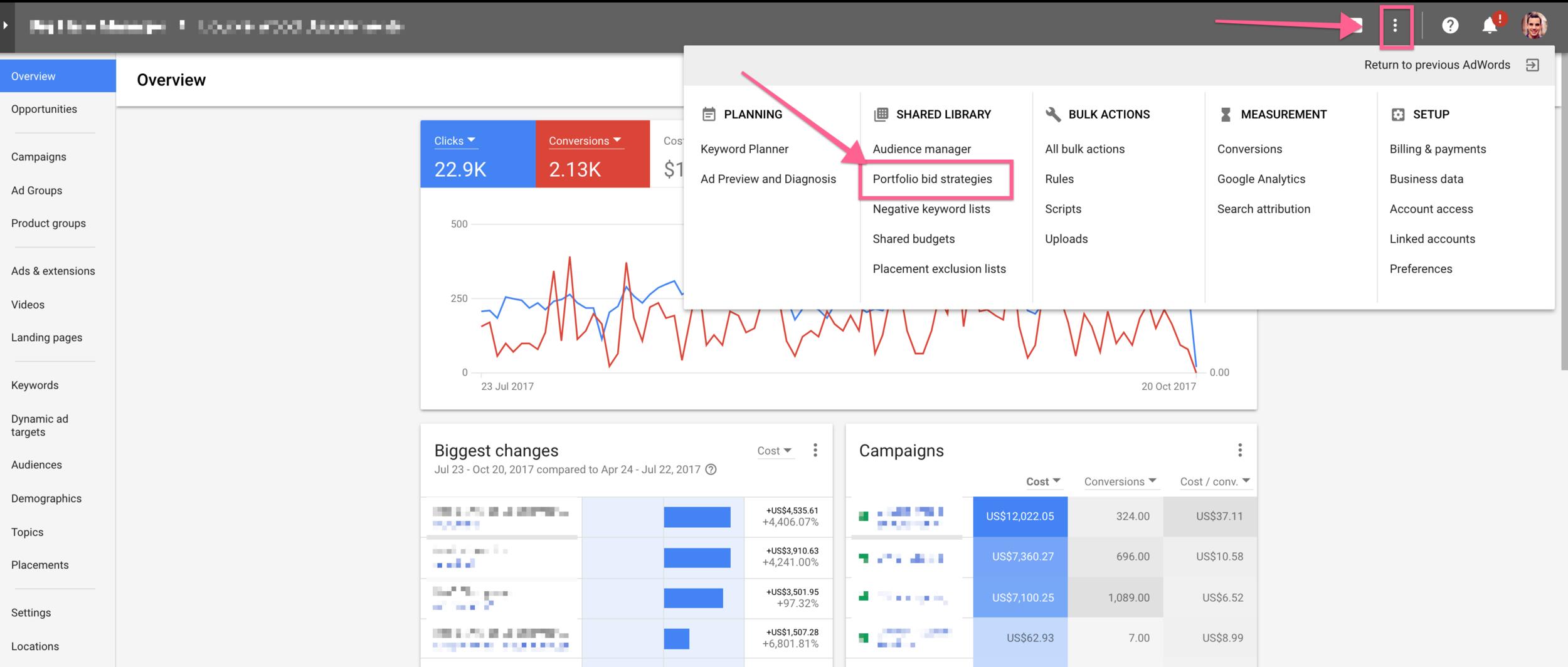 portfolio bid strategies in the new adwords interface.png