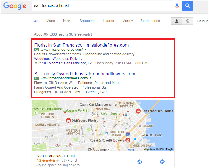 An example Adwords ad
