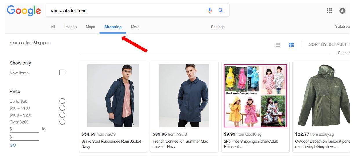 google shopping results coats.JPG