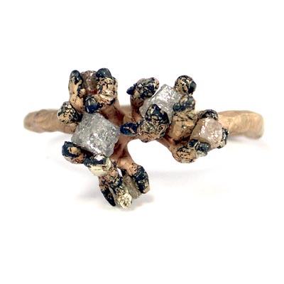 WOOD-ring koraal-achtig met 5 natuurkleuren kubus diamant