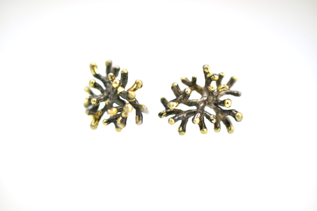 Coral earrings blackened silver & gold nr3large