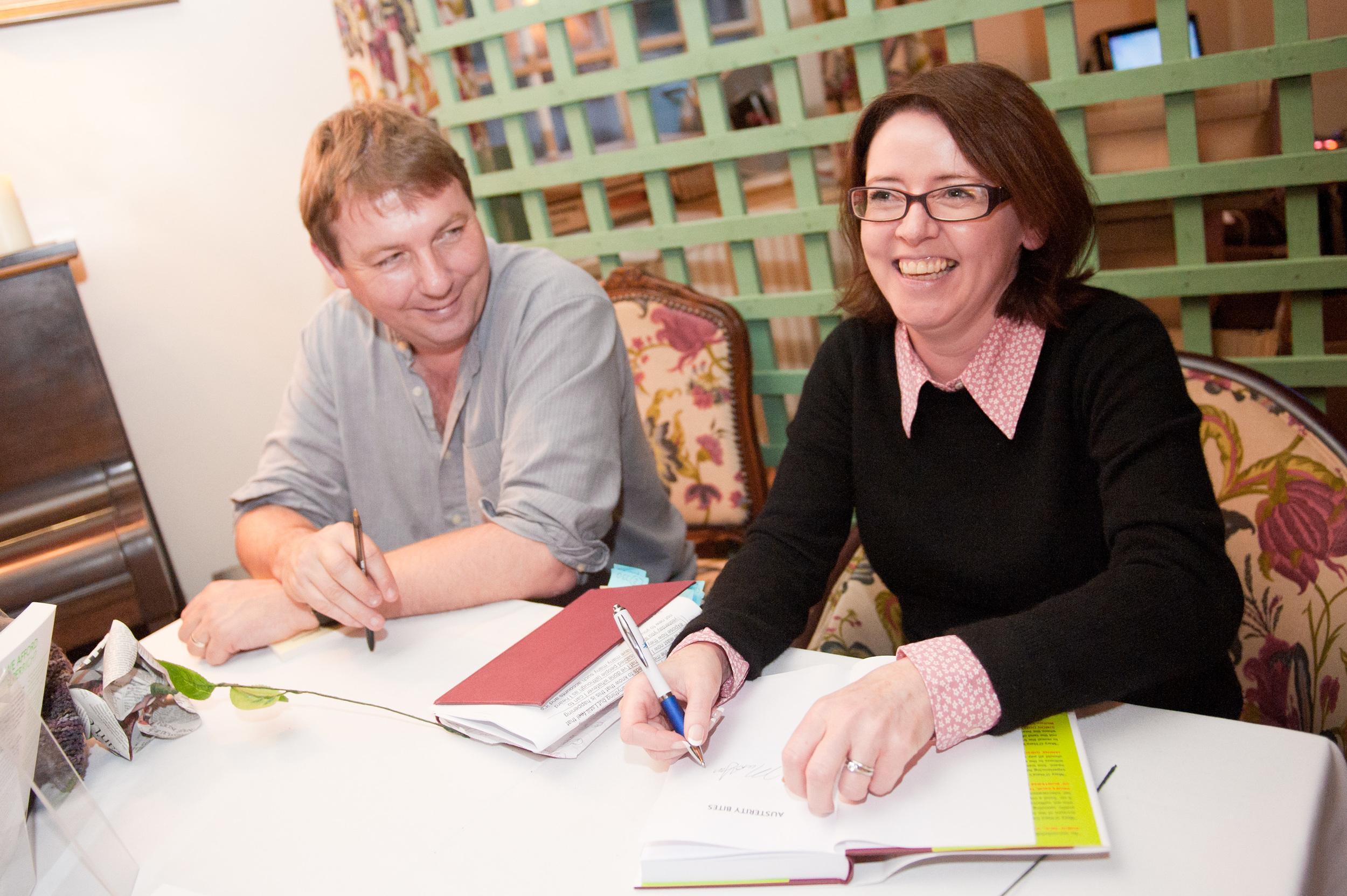 Danny Dorling and Mary O'Hara at the Hay Winter Festival 2014
