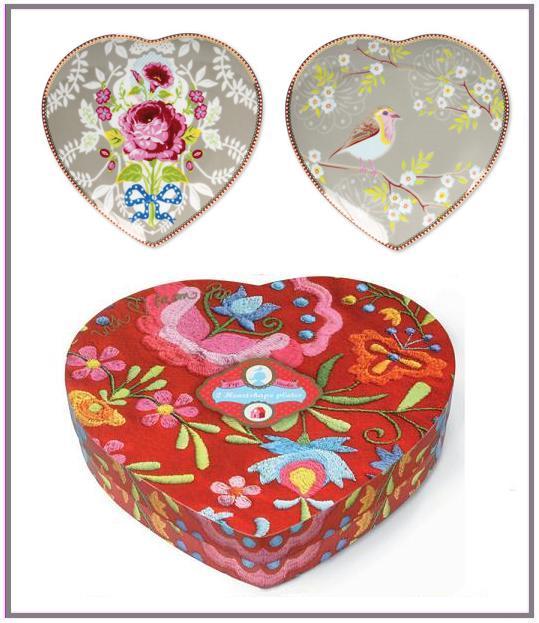 Pip bordjes hartvorm in mooie cadeaudoos  € 17,95/ set van 2