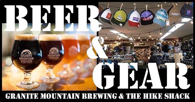 What's better than beer and gear? Join the fun at tomorrow's cash mob! The Pre-Party at Granite Mountain Brewing begins at 5pm and then at 6:30 we'll walk over to The Hike Shack to snag some gear for great prices! Can't wait to see you all there! 🍻