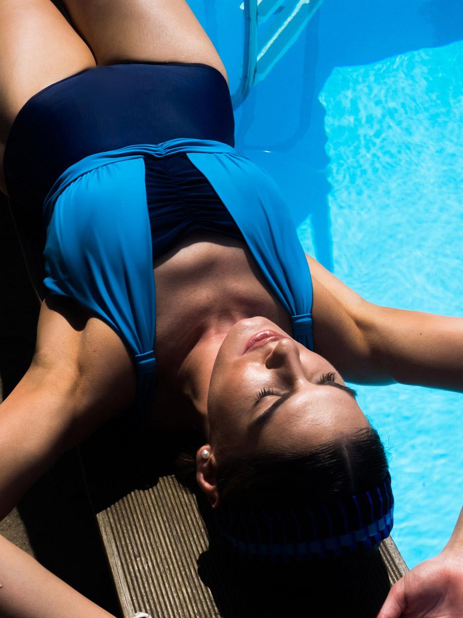 la victoire post-mastectomy swimsuit blue pool