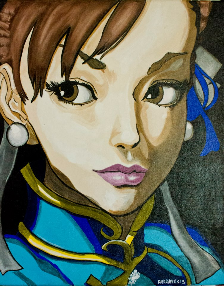 """Chun-LI""  mixed media  canvas"