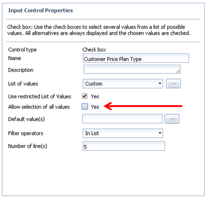 """Input Control values without the """"Select (All)"""" default value (WebIntelligence)"""