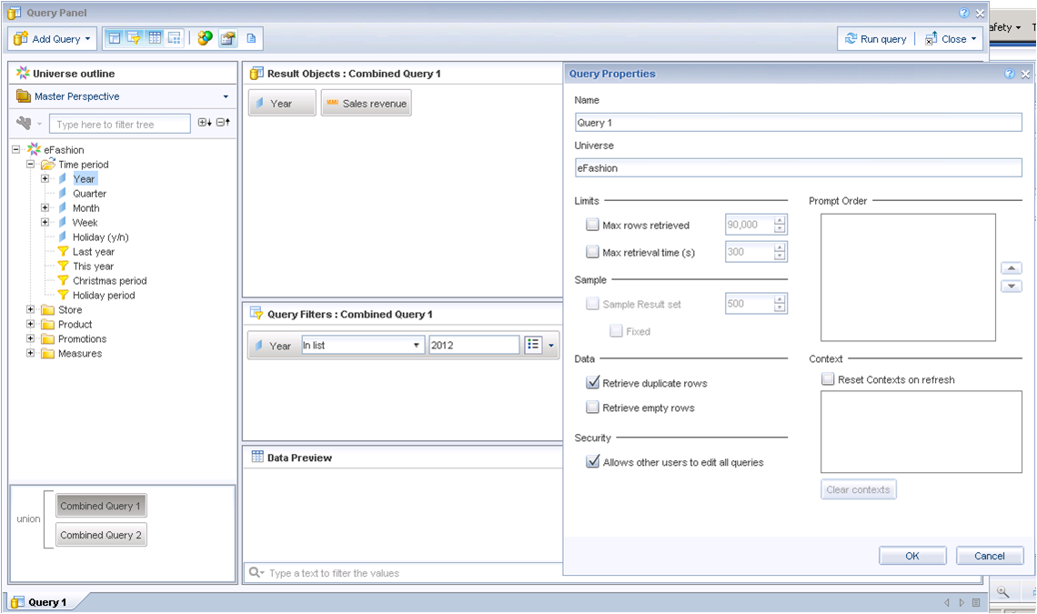 Universe context cannot be defined for every Combined Query in SAP BI4