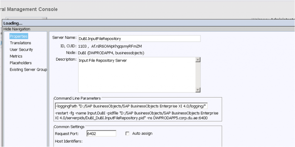 Central Management Console - Properties Input File Repository server