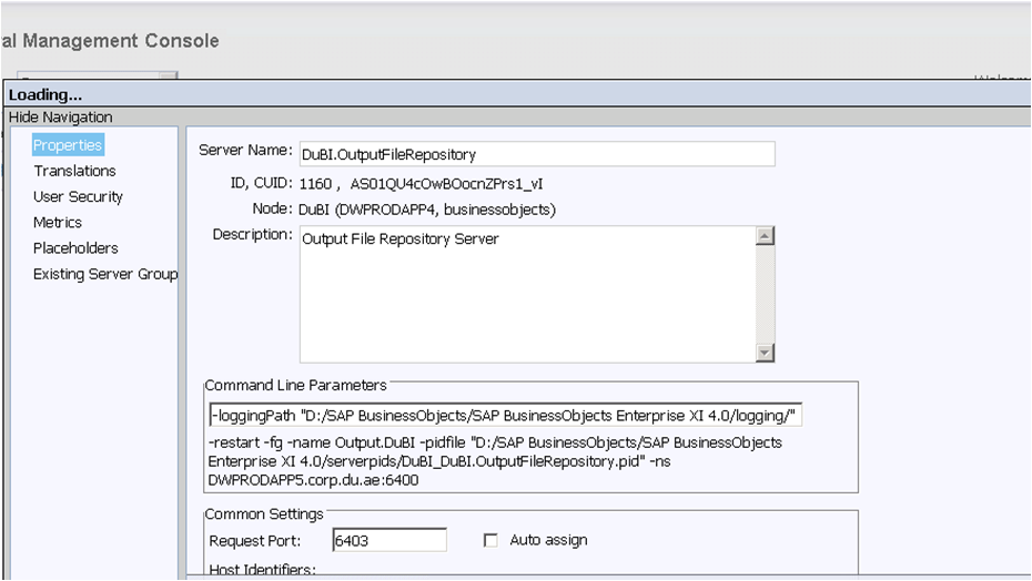 Central Management Console - Properties Output File Repository server