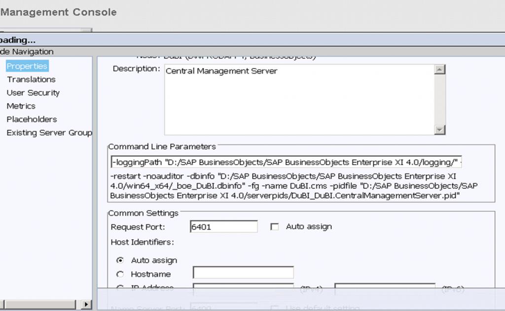 Central Management Console - Server Properties