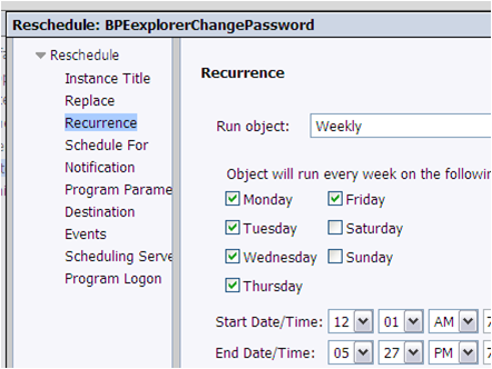 Scheduling recurrence
