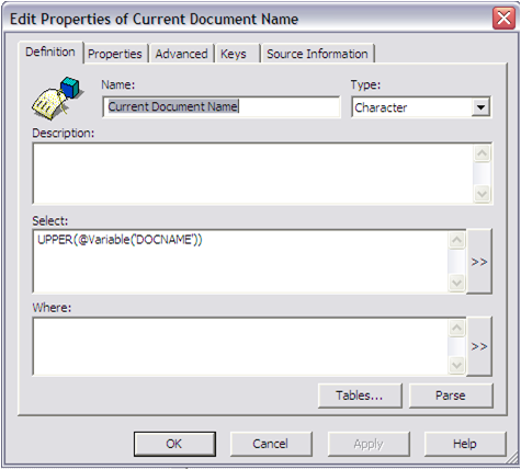 Select Current Document Name