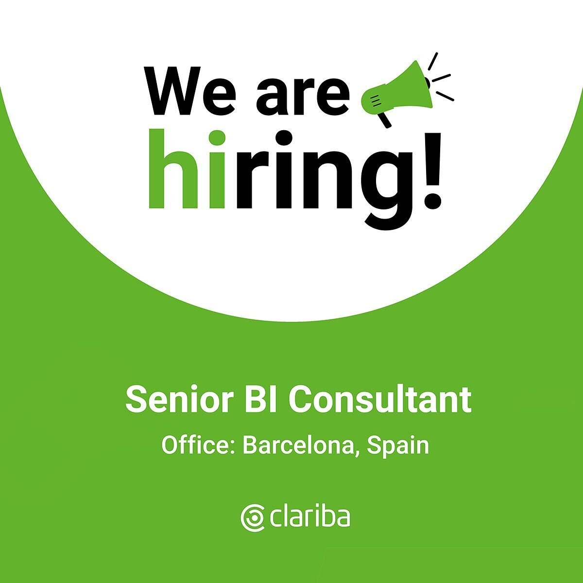 👋 Hey! We are looking for a motivated Senior BI Consultant to join our team in Barcelona. 👉Check the link in bio to find out the job details! Let's grow together!  #BeClariba #WeAreHiring #JobOportunities #hiring #hr #ClaribaJobs #jobs #BusinessIntelligence #BIJobs