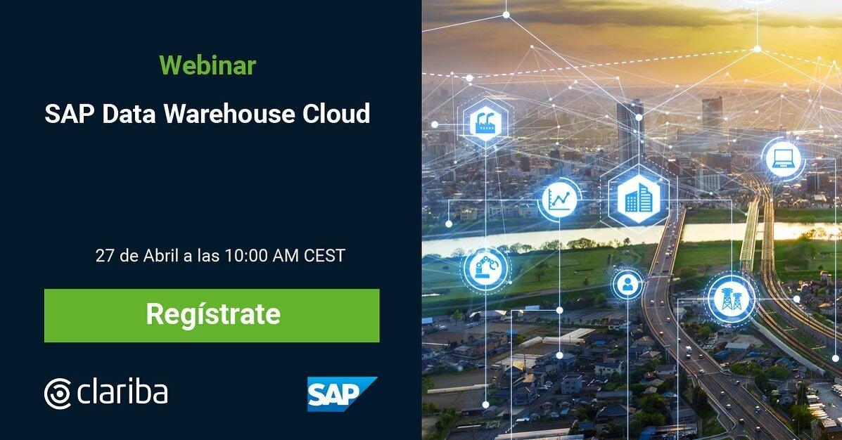 Si todavía tienes dudas de como activar el proceso de #TransformaciónDigital en tu empresa, #SAPDataWarehouseCloud es una buena opción.  Te explicaremos por qué en nuestro #webinar del día 27 de Abril a las 10:00 hrs. 📝 Regístrate aquí: https://bit.ly/3uMmQOu  #SAPDWC #datawarehousecloud #cloud #datawarehouse #digitaltransformation #ClaribaWebinar