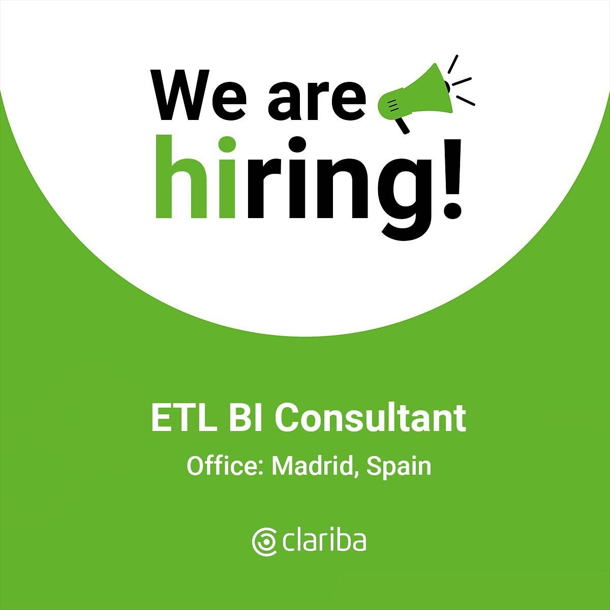 👋 Hey! We are looking for a motivated ETL BI Consultant to join our team in Madrid. 👉Check the link in bio to find out the job details Let's grow together!  #BeClariba #WeAreHiring #JobOportunities #hiring #hr #ClaribaJobs #jobs #BusinessIntelligence #BIJobs
