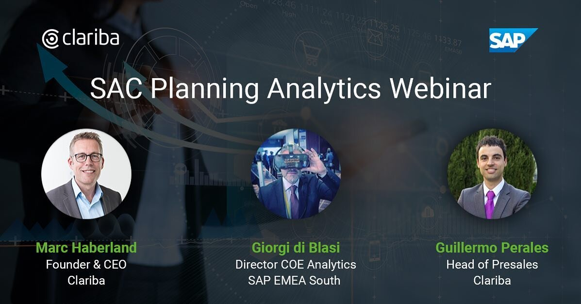 We are waiting for you on Tuesday, junio 1, to learn from our specialists how to plan your #business operations, #finances and build your #budget & #CashFlow in an agile and fast way with #SACPlanningSolutions.    📝 Check the link in bio to register! Don't miss out this webinar!    #SACPlanningAnalytics #SAPAnalytics #SACPlanning #planning #finance #financialplanning #cloud #business #webinar #ClaribaWebinar