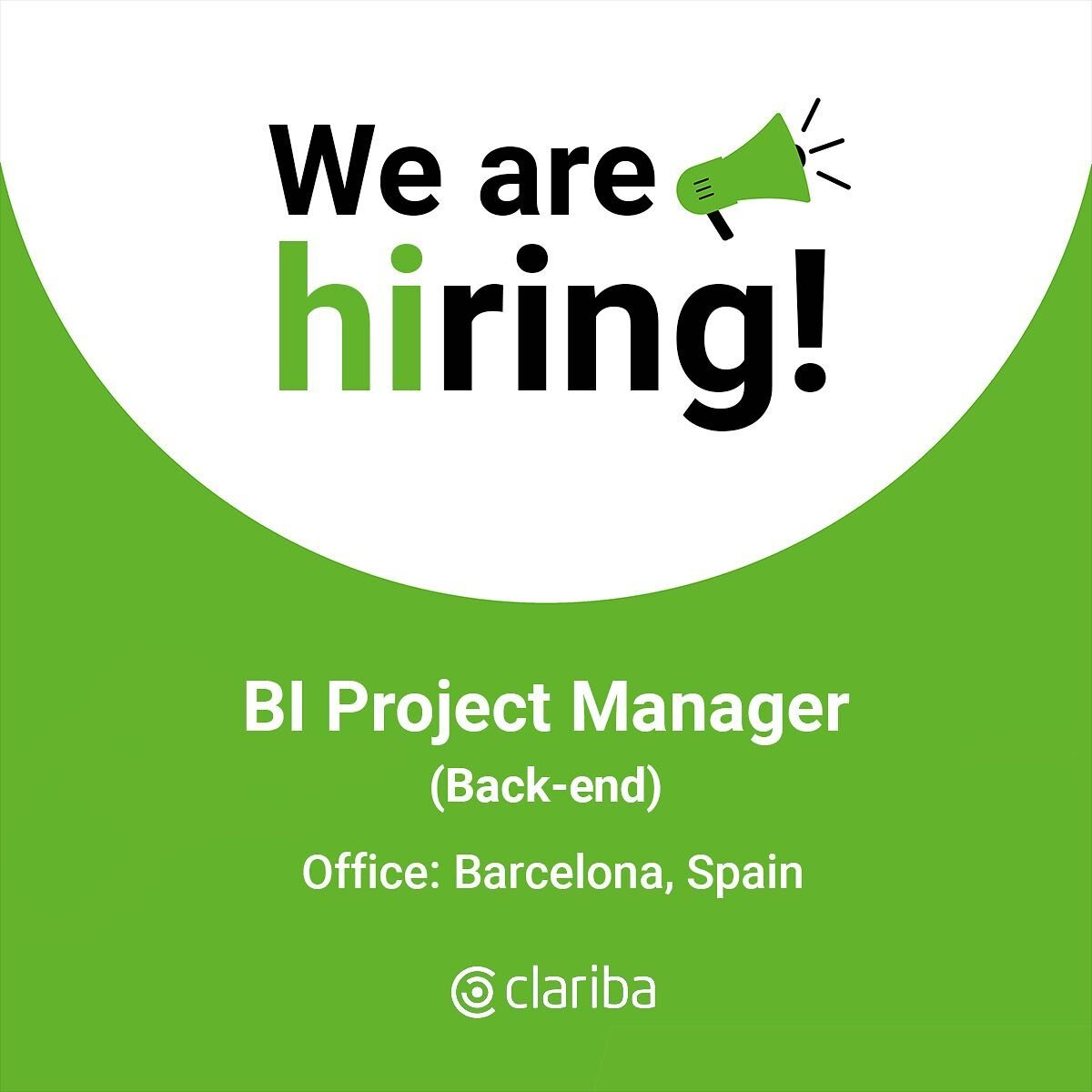 👋 Hey! We have a current opening for a BI Project Manager in our Barcelona office to actively lead medium to high complexity projects involving SAP Data Services, SAP Data Warehouse Cloud, SAP HANA, Snowflake and other tools.  👉 Check the link in bio to find out the job details. #BeClariba #WeAreHiring #JobOportunities #hiring #hr #ClaribaJobs #jobs #BusinessIntelligence #BIJobs #ProjectManager
