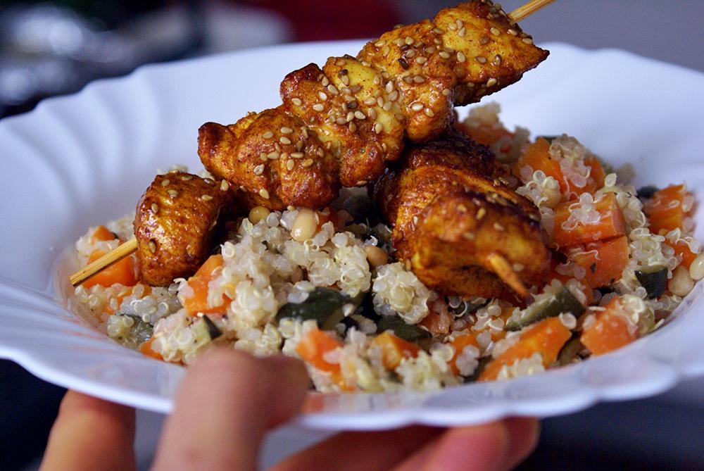 brochettes de poulet épices sésame sans gluten