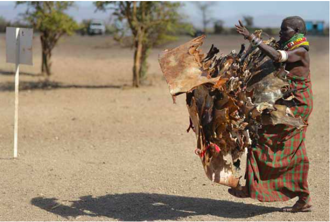 A Turkana woman carries hides skinned from goats he has lost to a biting drought that has ravaged livestock population in nothern Kenya near Lokitaung in Turkana county on March 20, 2017. PHOTO | AFP
