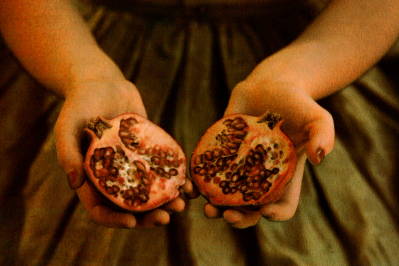 GIRL WITH POMEGRANATE II,   from the  Figurative  series; tri-color gum bichromate over platinum/palladium. Limited Edition 3/10