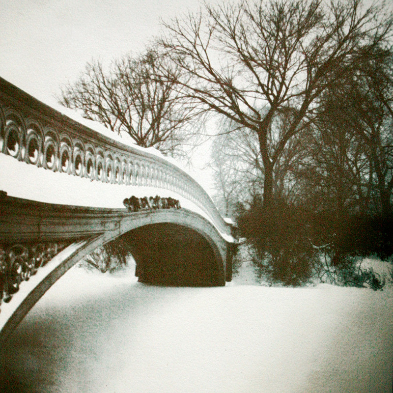 BOW BRIDGE IN SNOW,  from the  Landscape  series; gum bichromate. Limited edition 2/10