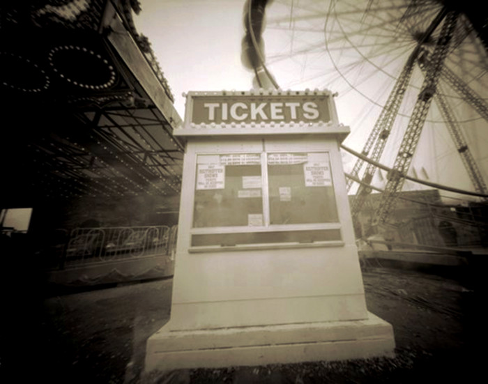 TICKETS,   from  The Midway  series; platinum/palladium pinhole.  Limited Edition 1/10.