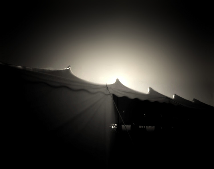 TENT AT DUSK,   from  The Midway  series.  Platinum/palladium, pinhole.  Limited Edition 2/10
