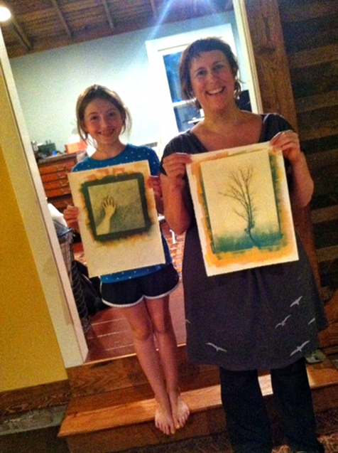 Rae and Elizabeth at the end of the day with 2 of their prints.