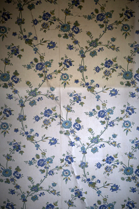 Blue Flowered Wallpaper,   from  Interiors  series.  Pigment print.