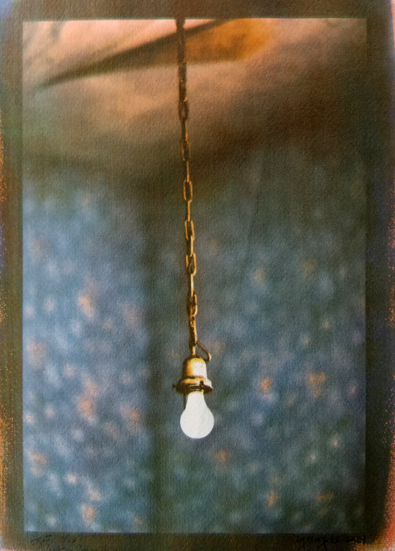 Light Bulb and Wallpaper,  from the  Crabtree Jones House series.   Tri-color gum bichromate print.