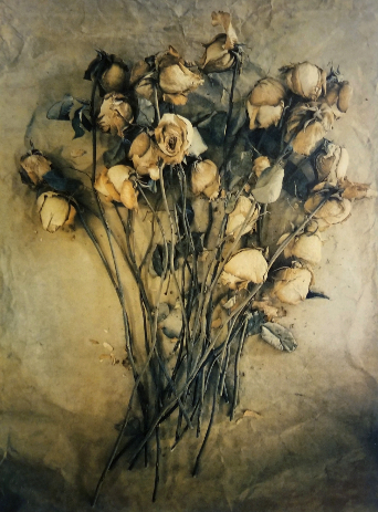 Valentine Roses , from  The Old Garden  series. Tri-color gum bichromate over cyanotype. 2/5