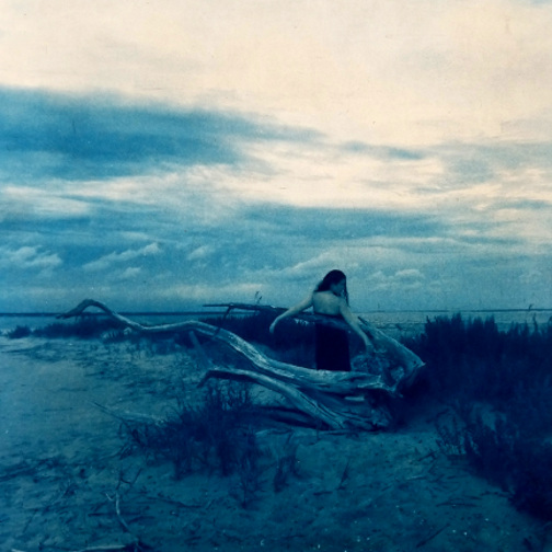 Dusk at Cape Fear River , 2018.  From the  Figurative  Series.  Gum bichromate over cyanotype.  Limited Edition.
