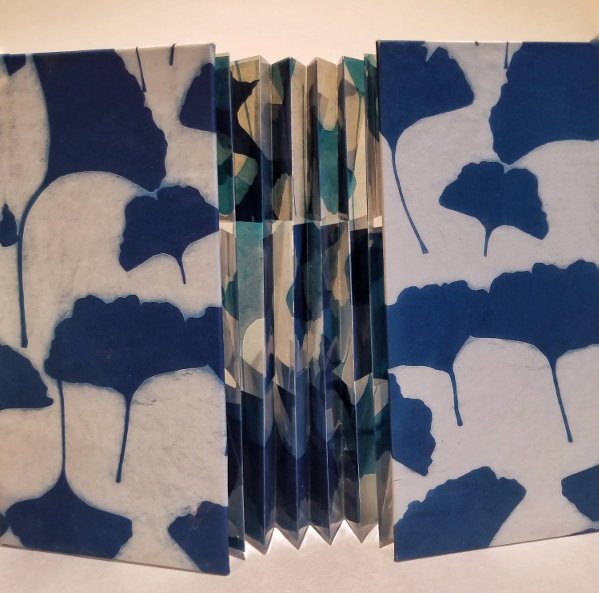 Flag Book, Ginkgo Leaves 2019  (Cyanotype photograms; interior flags & spine printed on transparencies; covers printed on Japanese Gampi paper) 1/1