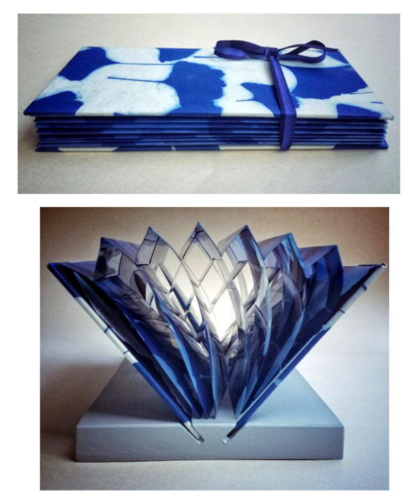 Flag Book, Ginkgo Leaves 2019 (Cyanotype Photograms) ©DH Bloomfield 2019
