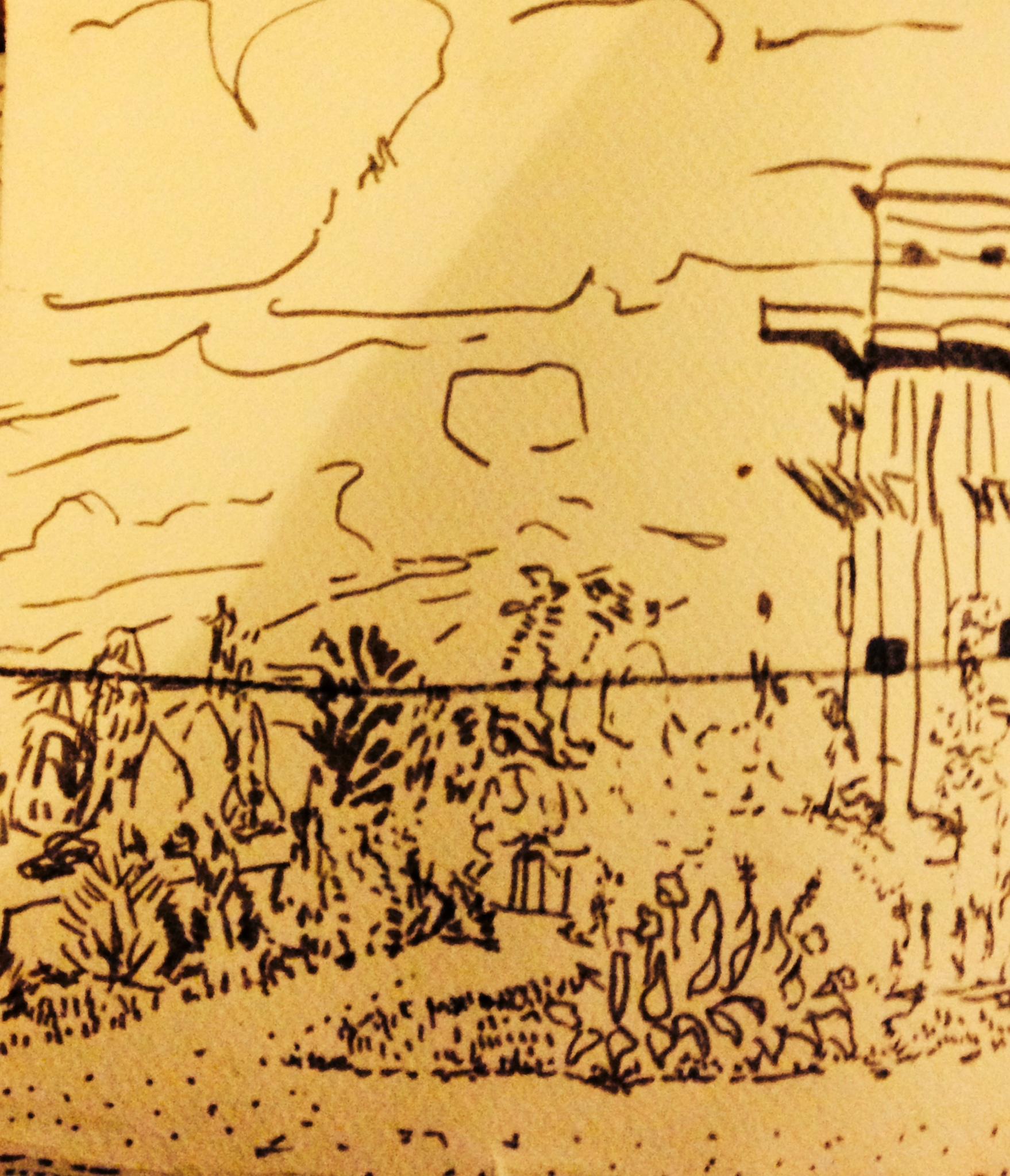 Sketch Book, Vienna garden with Nazi Flak tower still standing