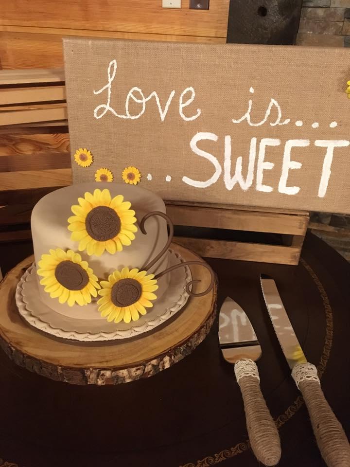 Sunflower Intimate Wedding Cake