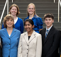 Clockwise from top left: Alicia Schiller, McKenna, Raph, Pearl, AmJAS representative