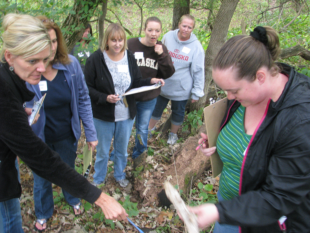 REAP CEP awards grants to further conservation education in Iowa. Here, educators learn how to help students learn about the environment.