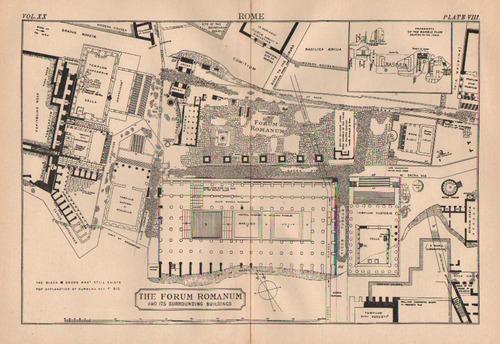 1884 antique map of the forum romanum from encyclopedia britannica   pastpresent_2271_1808393094